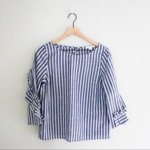 Skies are Blue Chambray Ruffle Striped Top